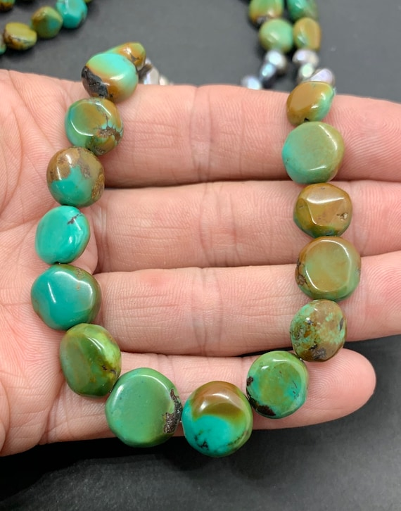 Handmade Sterling Silver Genuine Green Turquoise P