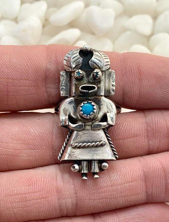 Vintage Navajo Sterling Silver Turquoise Kachina R