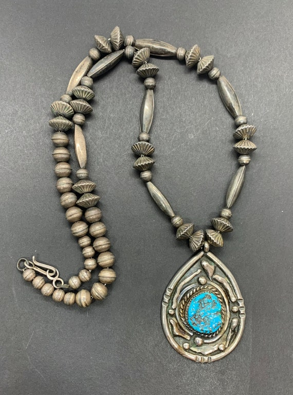 Early Sterling Silver Navajo Pearl Natural Turquoi