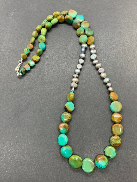 Handmade Sterling Silver Genuine Green Turquoise … - image 2