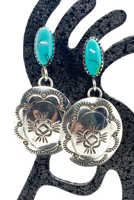Navajo Sterling Silver Blue Turquoise Concho Dangl