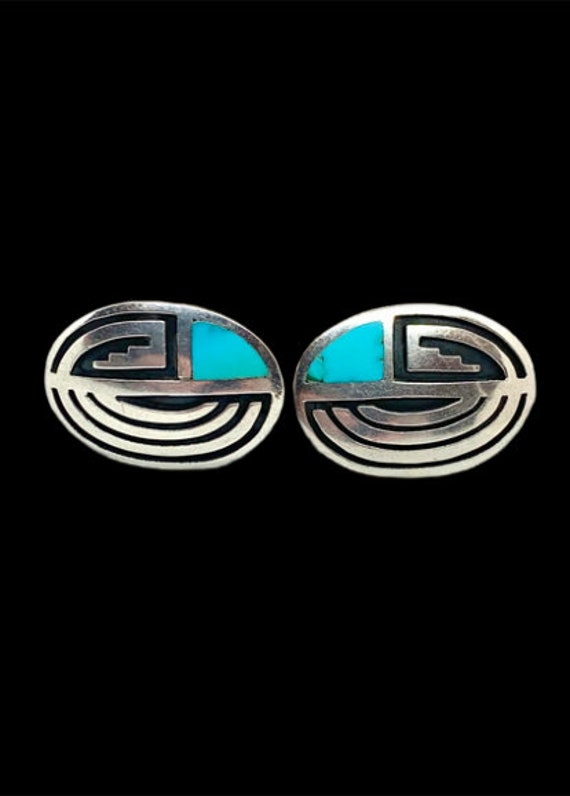 Vintage Navajo Sterling Silver Turquoise Cuff Link