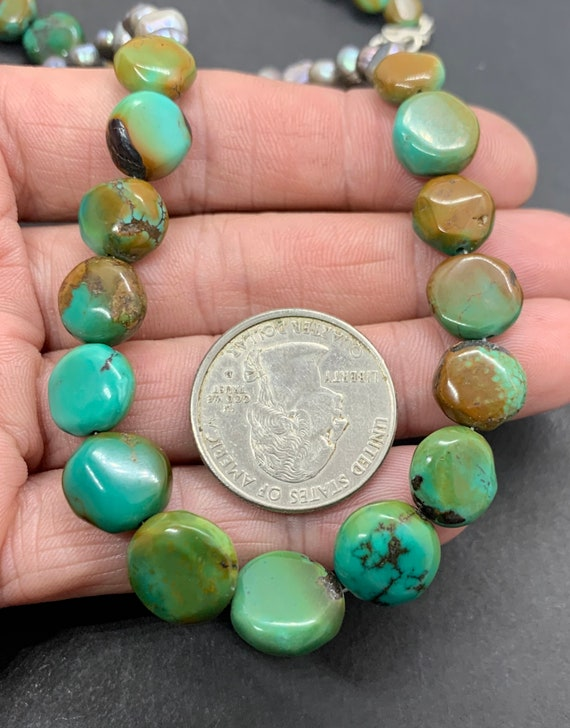 Handmade Sterling Silver Genuine Green Turquoise … - image 4