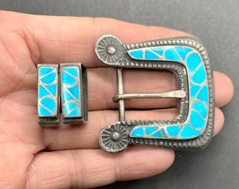 Vintage Zuni Sterling Silver Turquoise Inlay Ranger Belt Buckle Set, Turquoise Belt Buckle Zuni Belt Buckle, Ranger Buckle, Turquoise Buckle