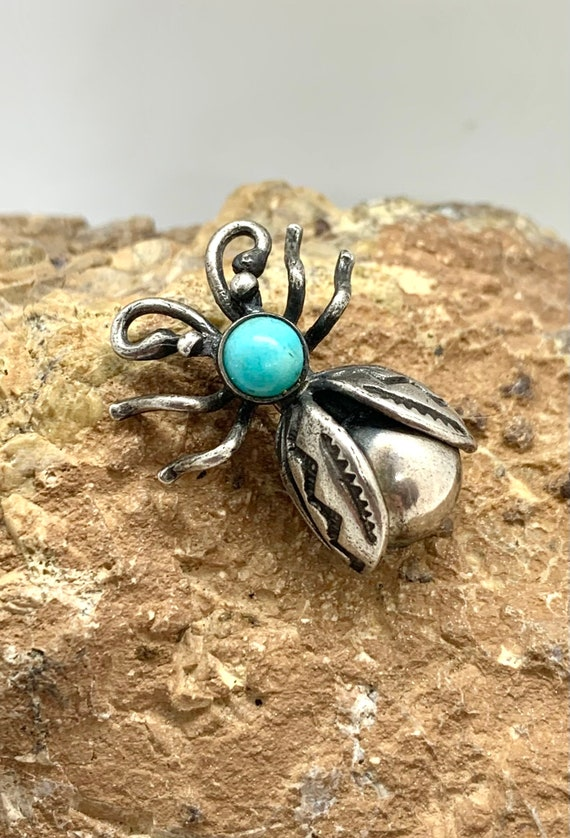 Navajo Sterling Silver Butterfly Pin with Turquoise Cabochon  Vintage Pin  Fred Harvey Era  Old Pawn  Native American