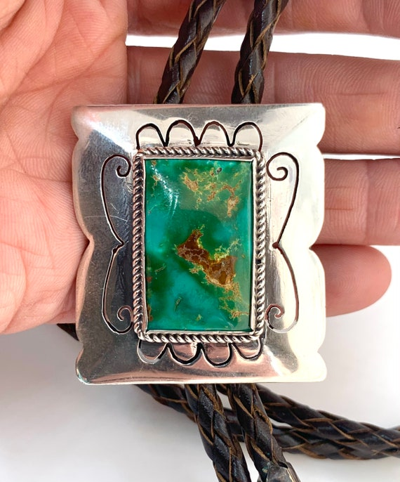 Vintage Navajo Sterling Silver Green Turquoise Bro