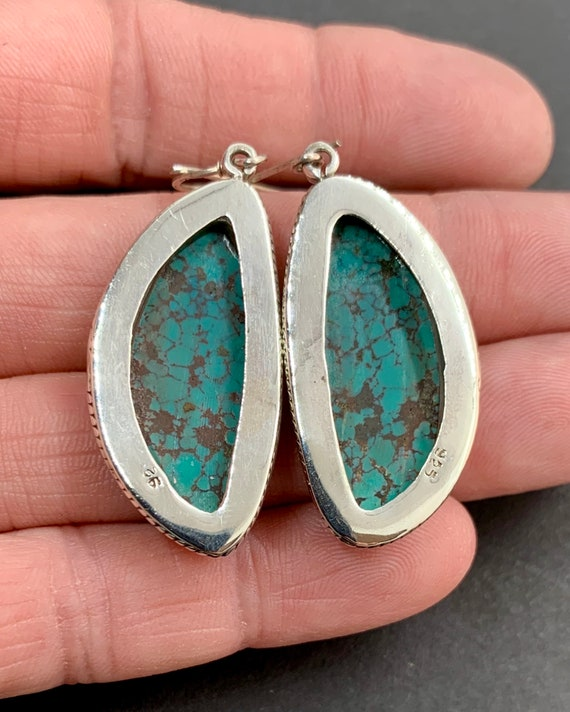 Sterling Silver Natural Blue Spiderweb Turquoise … - image 5