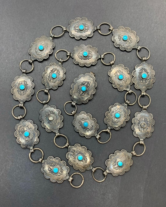 Early Navajo Sterling Silver Turquoise Stamped Con