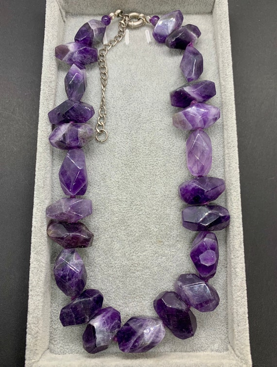 GSJ Signed Sterling Silver Natural Amethyst Chunky