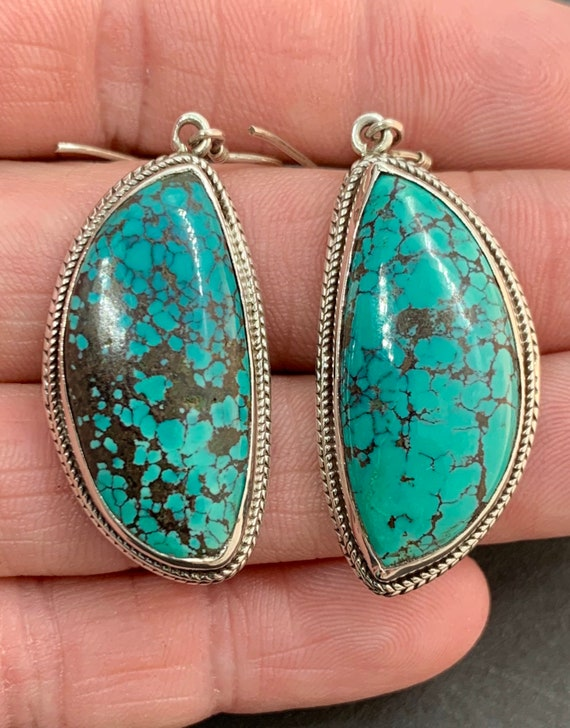 Sterling Silver Natural Blue Spiderweb Turquoise … - image 3