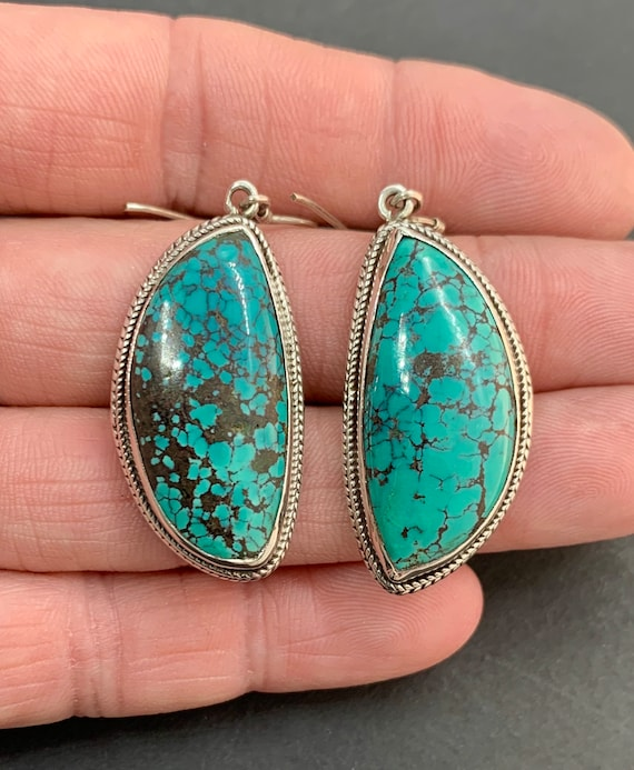 Sterling Silver Natural Blue Spiderweb Turquoise … - image 1