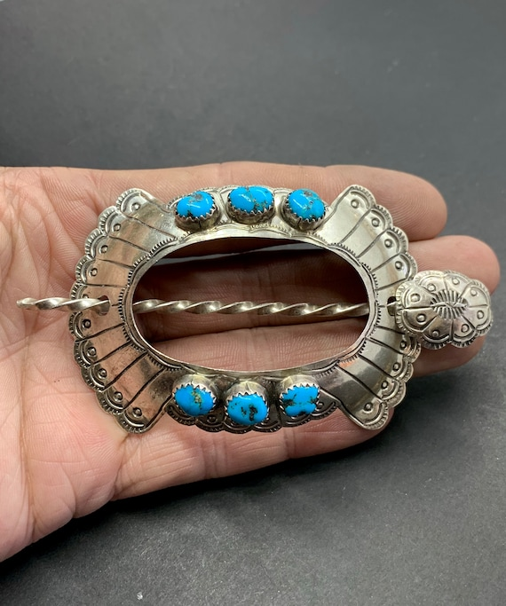 Navajo Southwestern Sterling Silver Turquoise Hair