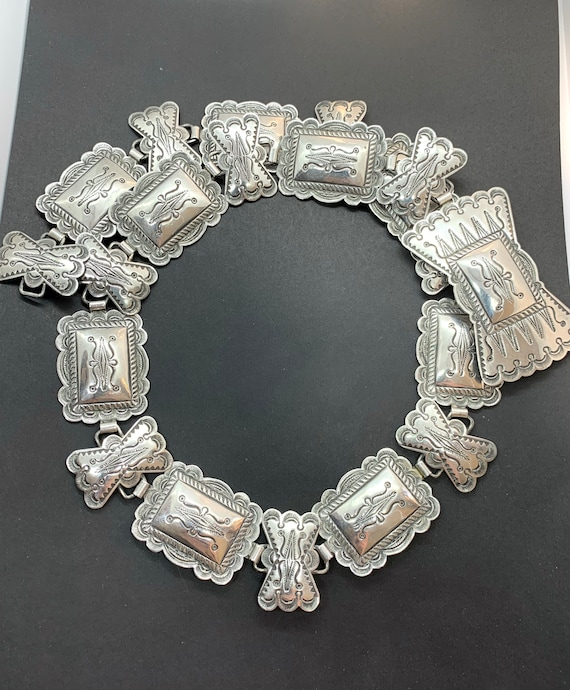 Vintage Navajo Sterling Silver Stamped Concho Belt