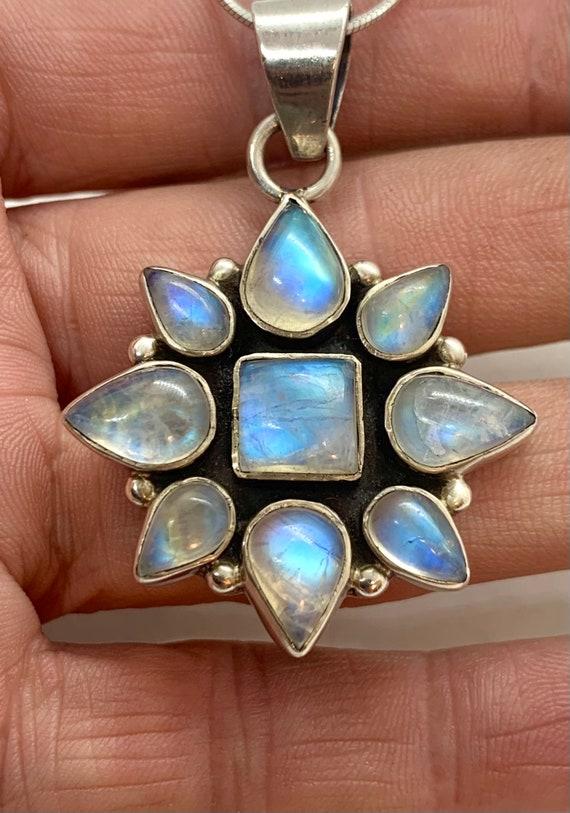 Sterling Silver Rainbow Moonstone Multi Stone Clus