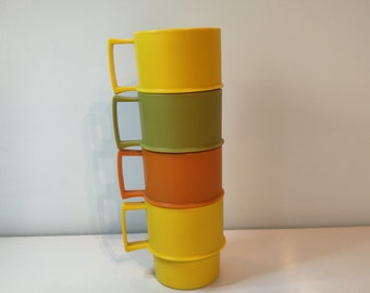 Vintage Tupperware Cups Mugs ~ Stackable Cups with Handles ~ Made USA 1312-9 Picnic Cups ~ Retro kitchen
