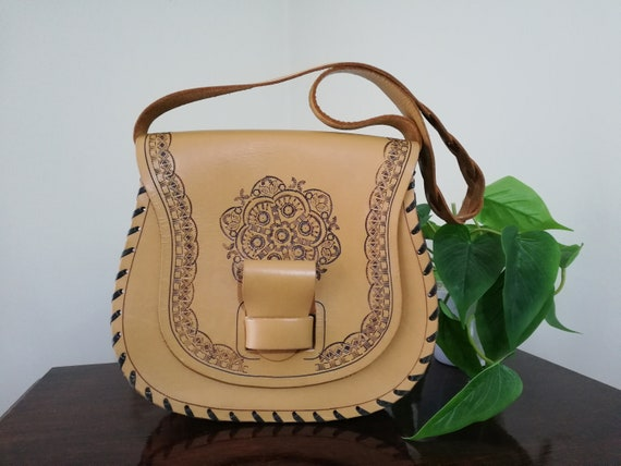 Vintage Tooled Leather Bag ~ 1970's Embossed Leath