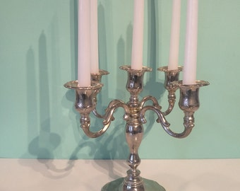 Vintage Silver Plated Candelabra ~ 5 Arm Candleholder ~ Mid Century Beauty!