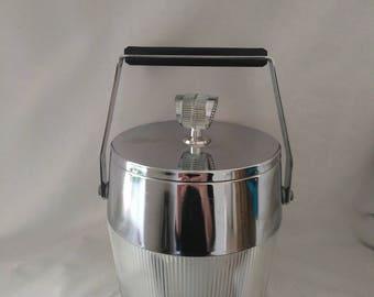 Vintage Retro Ice Bucket Barrel with Bakelite Handle ~ Mid Century