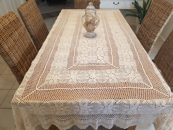 Vintage Crocheted Lace Tablecloth Large 100 Cotton Etsy
