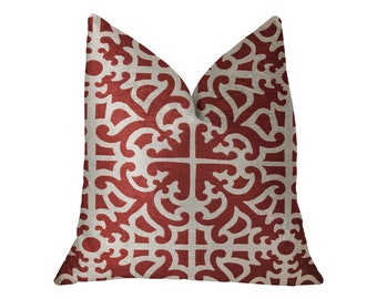 Plutus Red Romance Red and Beige Luxury Geometric Throw Pillow
