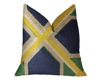 Plutus Obliquity Blue, Yellow and Green Luxury Geometric Throw Pillow