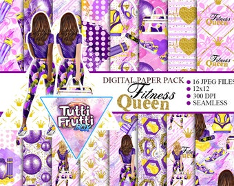 Fitness Girl Digital Paper Pack Fashion Watercolor Papers Sport Backgrounds Workout Seamless Papers Sports Glitter Workout Planner Stickers