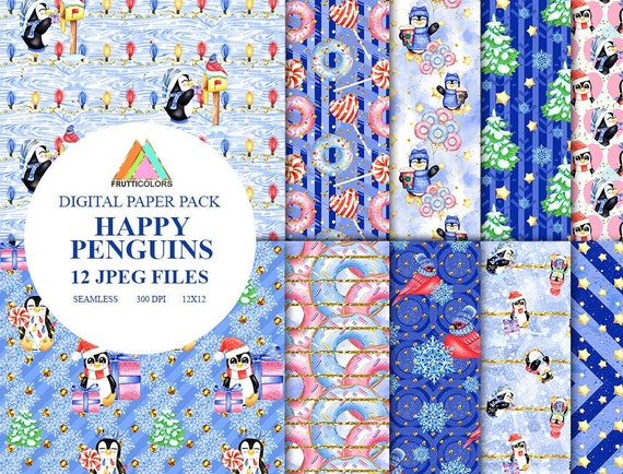 Christmas Backgrounds Cute.Watercolor Cute Happy Penguin Digital Paper Pack Christmas Pattern Donut Backgrounds Penguins Fabric Animal Backdrop Kids Fabrics Candy Xmas
