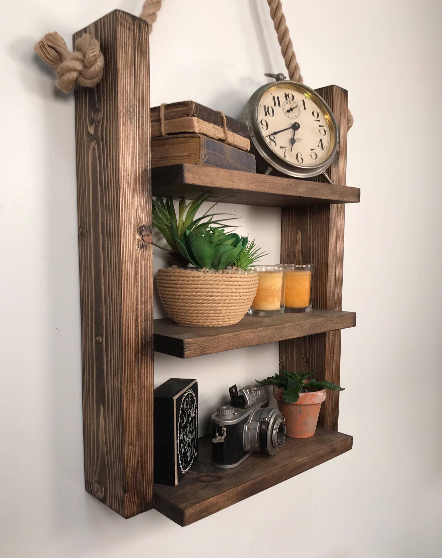 Rustic Ladder Shelf  Rustic Wood And Rope Ladder Shelf, Bathroom Organizer,  Entryway Shelf