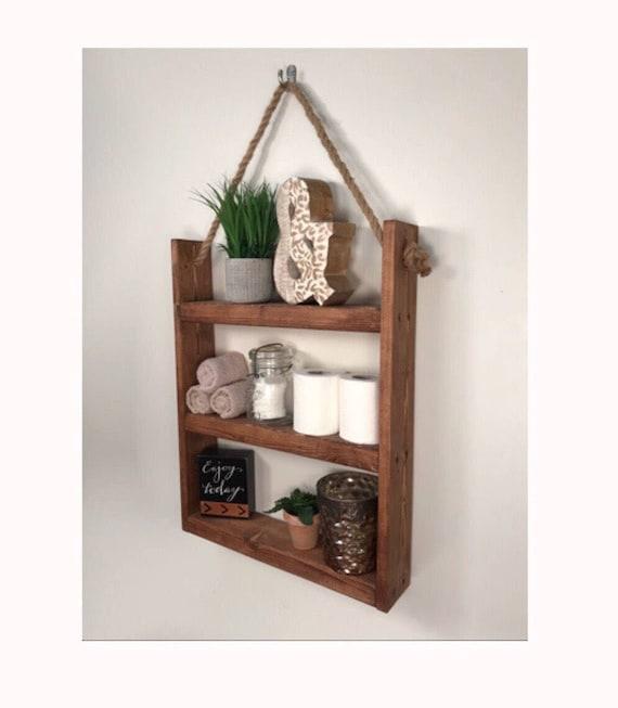 rustic ladder shelf rustic wood and rope ladder shelf etsy. Black Bedroom Furniture Sets. Home Design Ideas