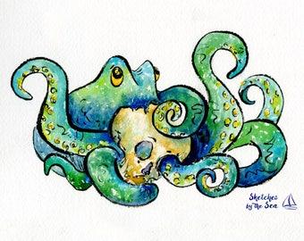 Octopus and Skull Art Print