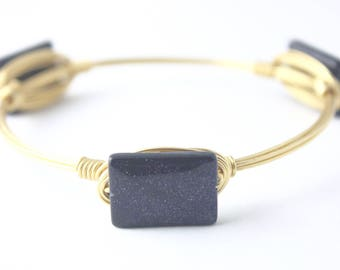 Blue Goldstone Wire Wrapped Bangle, Wire Wrapped Bracelet, Wire Bangle