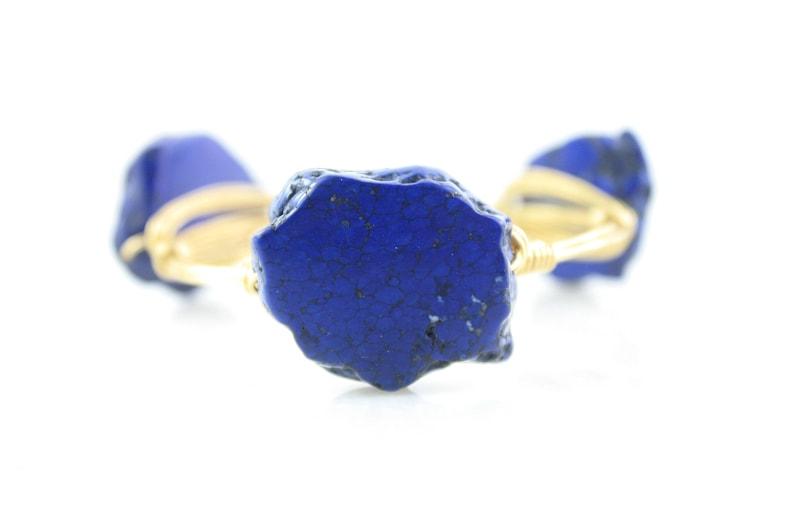 Wire Bangle Blue Howlite Wire Wrapped Bangle Wire Wrapped Bracelet Bracelet