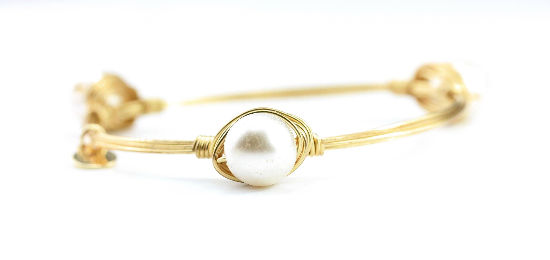 Perle zierlich Draht umwickelt Armreif gewickelter Draht | Etsy