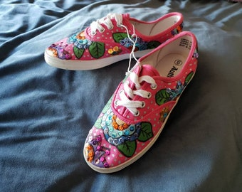 Pink and metallic flower design womens shoes           handpainted sneakers