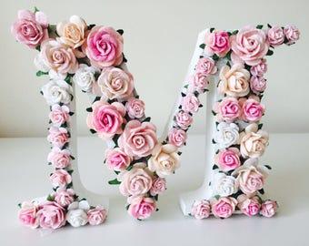 pink nursery decor pink nursery nursery decor flower letter girls nursery decor pink wall art christening gift baby shower gift