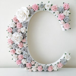 Flower letters etsy pink grey wall art pink grey nursery decor pink grey decor wall art nursery wall art flower letter pink grey flower letter mightylinksfo