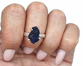 Druzy Azurite ring sterling silver dark Blue stone ring Raw gemstone ring made in Armenia unique design ring triangle ring Geometric ring