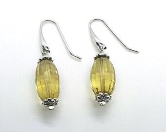 Lemon Citrine Earrings, Sterling Silver, November Birthstone