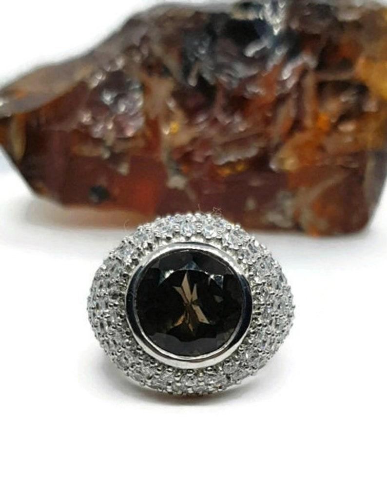 2 Sizes Smoky Quartz Ring 925 Sterling Silver Healing SALE