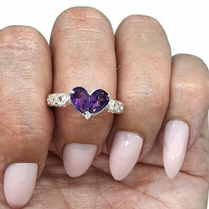 Oxidized  Ring Protection Sterling Silver February and December Birthstones Massive Statement Ring Amethyst /& Blue Topaz Ring Size 8.5