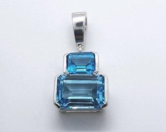 Art Deco Blue Topaz Pendant, 925 Silver, December Birthstone