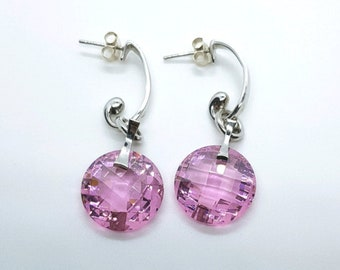 Pretty in Pink Swarovski Crystal Drops, Sterling Silver, NEW