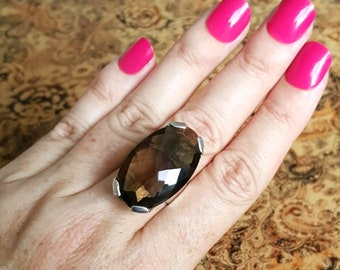 Smoky Quartz Cocktail Ring, size 8 3/4 US, Sterling Silver, SALE