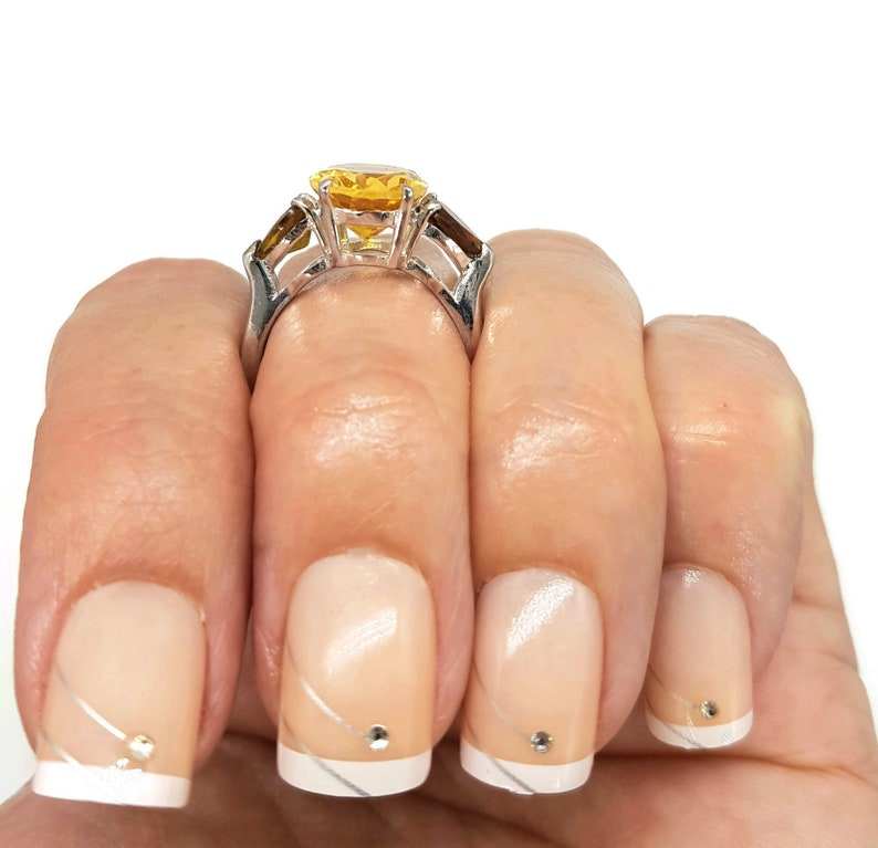 size P NEW Citrine /& Tourmaline Gemstone Ring engagement ring