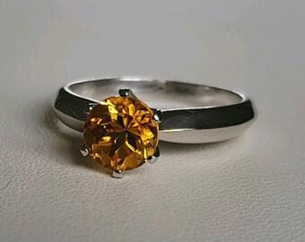 Citrine Engagement Ring, size 8 1/2 US, Sterling Silver, Prosper