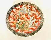 antique imari chinese export porcelain charger featuring two mythological ladies - 15 quot dates to 19th century