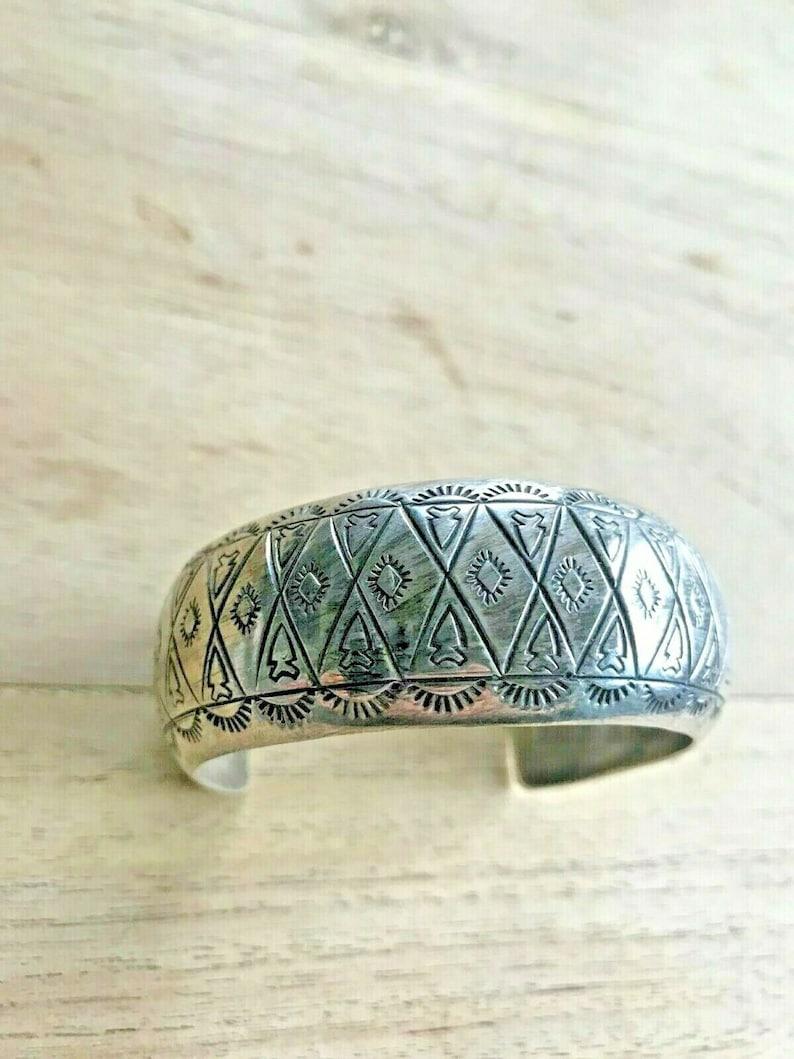 Eva Sando Pueblo Stamped Silver Cuff Bracelet Arrowhead Pattern Indian Jewelry