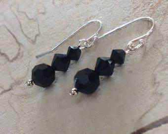 925 Sterling Silver & Swarovski Crystal Jet Black Earrings