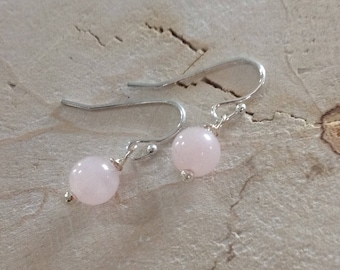925 Sterling Silver Rose Quartz Earrings