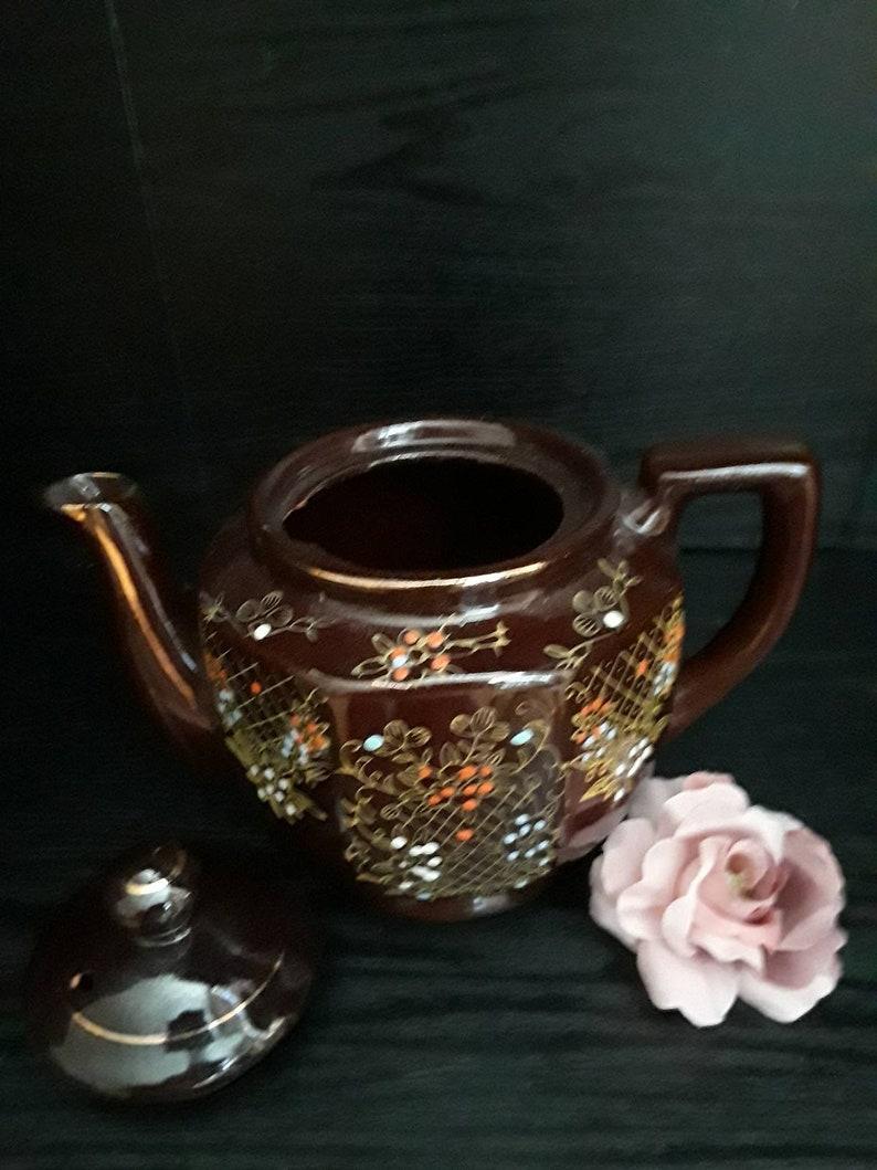 Vintage brown glaze Moriage painted with golden line teapot Japan